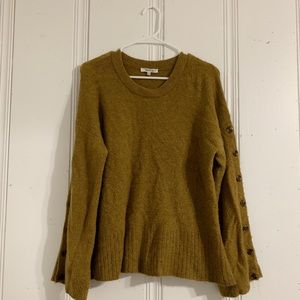 Green/Gold Madewell Sweater with button sleeves